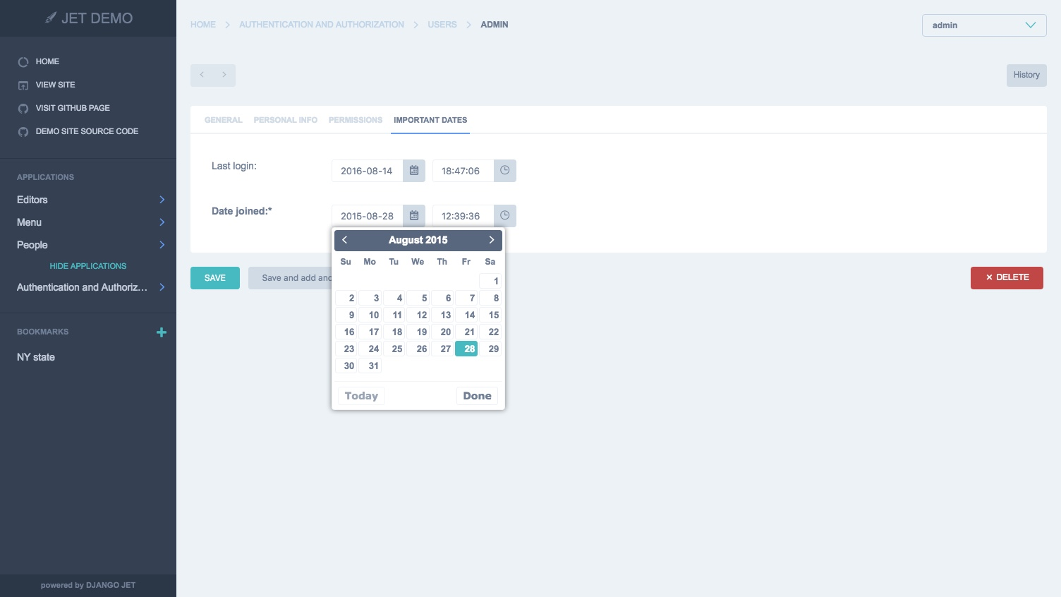 Django JET – responsive admin interface